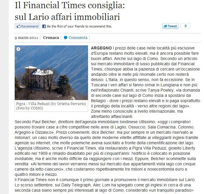 Provincia di Como - featured in Financial Times