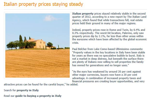 Place in the Sun - Italian Property Prices Staying Steady