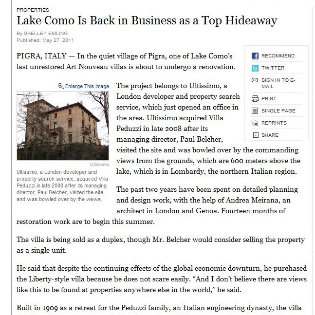 Lake Como Ultissimo, feature news story
