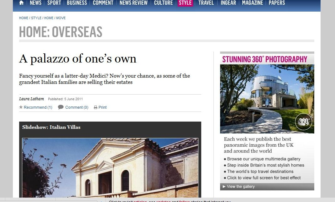 The Sunday Times - A palazzo of your own