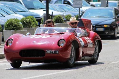 Classic car driving on the Lake Como road
