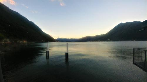 Evening view from ferry terminal in Argegno