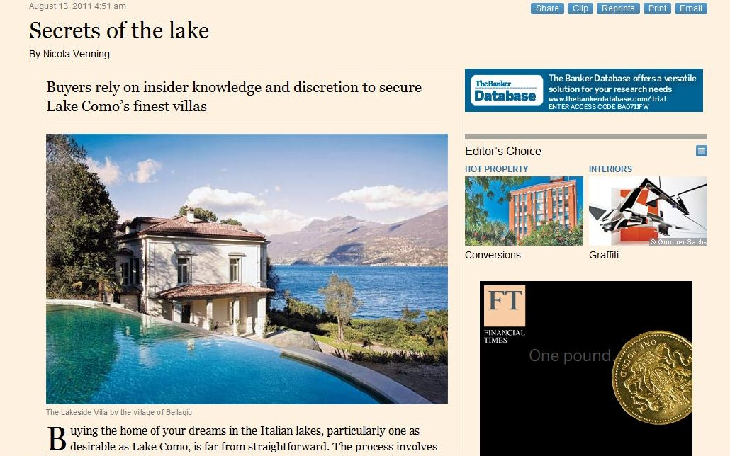 Buying home in Italy, Financial Times