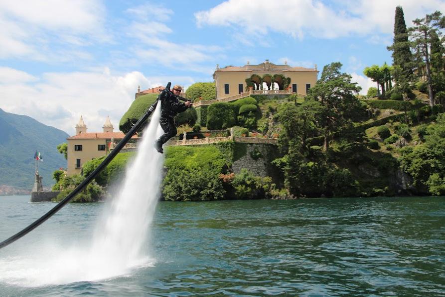 Jet Lev on Lake Como in front of Villa Balbianello