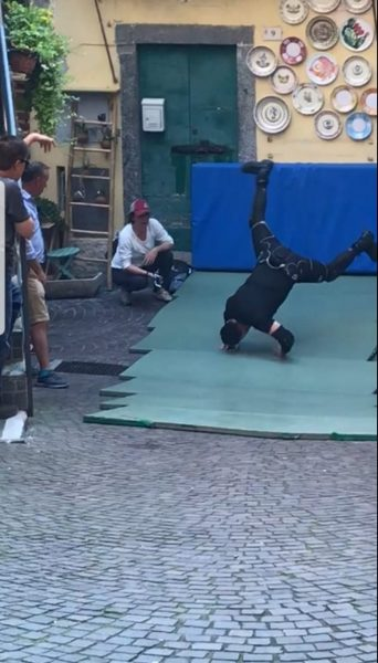 Netflix Murder Mystery Stunt Double Argegno Tumble